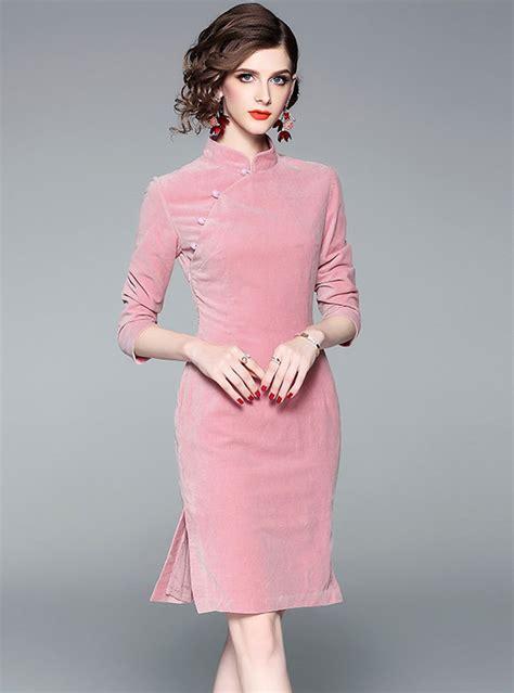pink cinched waist mini cheongsam dress fancylooks