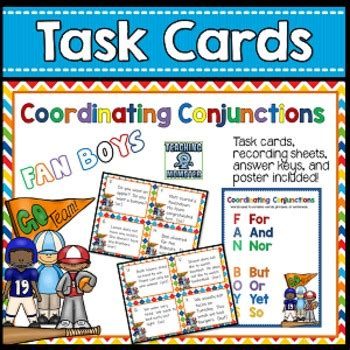 coordinating conjunctions fanboys task cards  krista