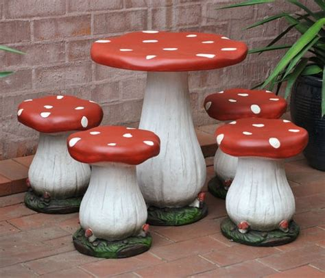 Toadstool Table And Four Chairs Childrens Setting Mushroom