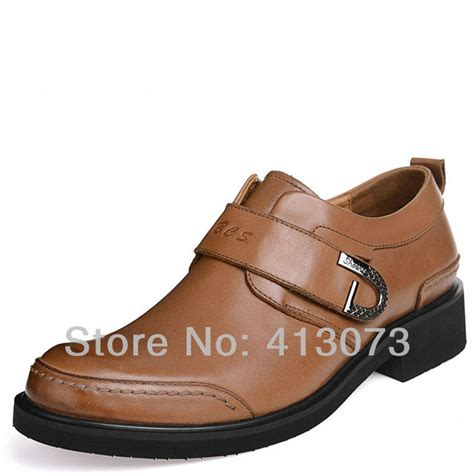 rubber outsole heel height 3 6cm mens shoes leather velcro