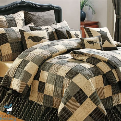Country Bed Comforter Sets Black Country Primitive Patchwork Quilt Set For Cal King Size Bedding Ebay