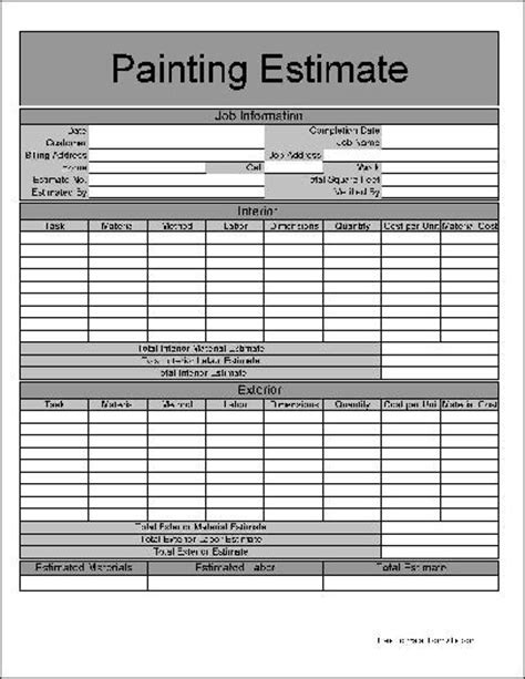 Free Painting Estimate Template 9 best images of painting estimate forms printable free