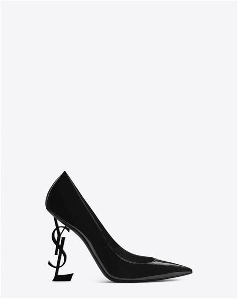 Ysl Heels by Laurent Opyum 110 In Black Patent Leather And