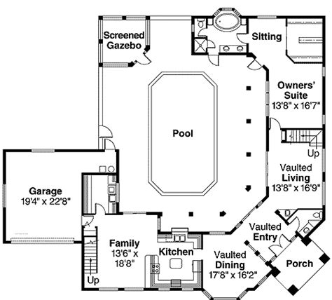 florida house plans with courtyard pool pool views abound 72184da 1st floor master suite cad