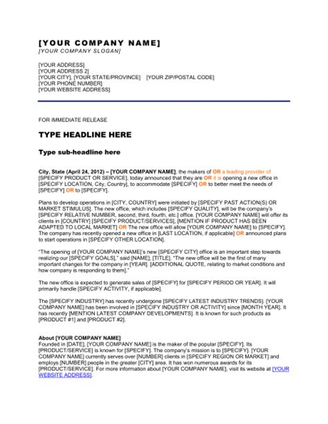 Release Letter From Office Press Release Opening A New Office Template Sle Form Biztree