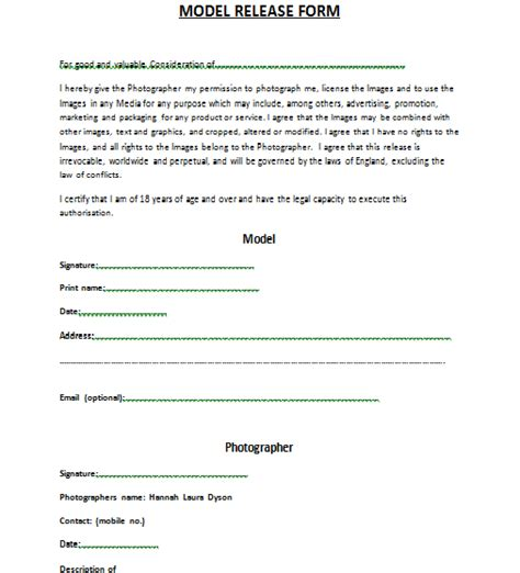 standard model release form template model release forms yates photography