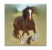 Galloping Shire Draft Horse Tile Coaster By Designs