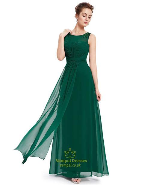 emerald green chiffon floor length bridesmaid dresses with