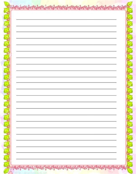 Printable Lined Writing Paper With Border
