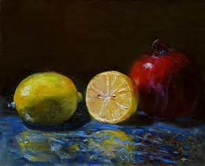 Moorcroft Pomegranate Vase Lemon Half And Pomegranate Still Life Painting Denise