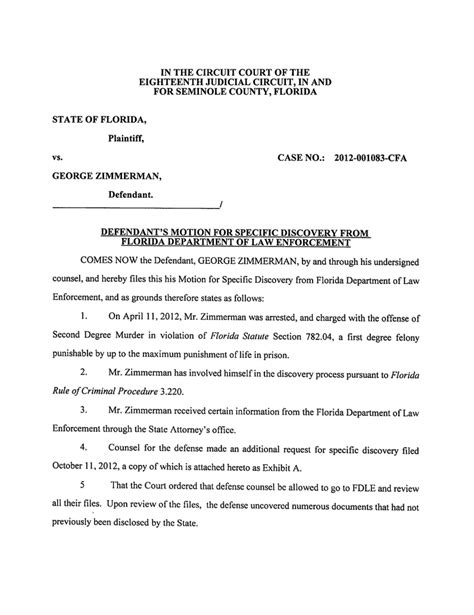 Defendant S Motion For Specific Discovery From Fdle Discovery Template
