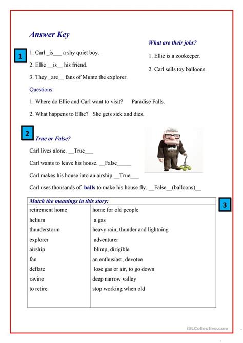 up film worksheet up the movie worksheet free esl printable worksheets