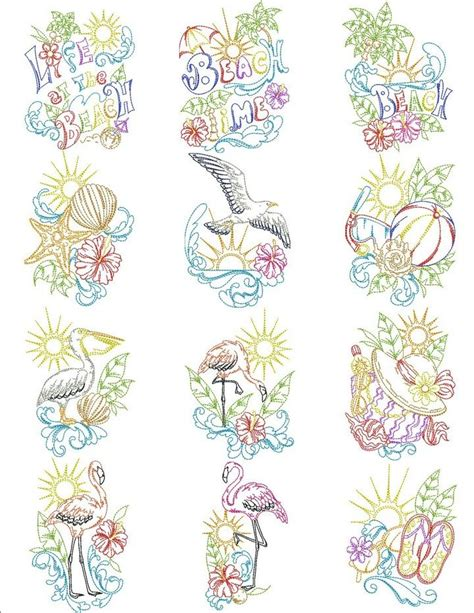 brother embroidery machine patterns beach life machine embroidery designs by sew swell