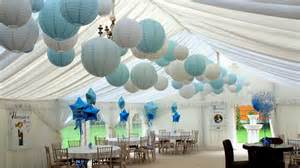 Vintage Christmas Centerpieces - baby blue lanterns decorate christening and 1st birthday celebrations hanging lantern company