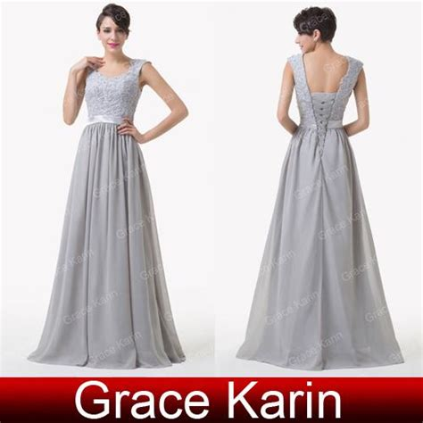Bridesmaid Dresses Aza - grace karin chic lace crochet new gray bridesmaid dress