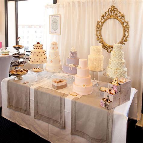 wedding cake table display baker s wedding cake selection display cake table