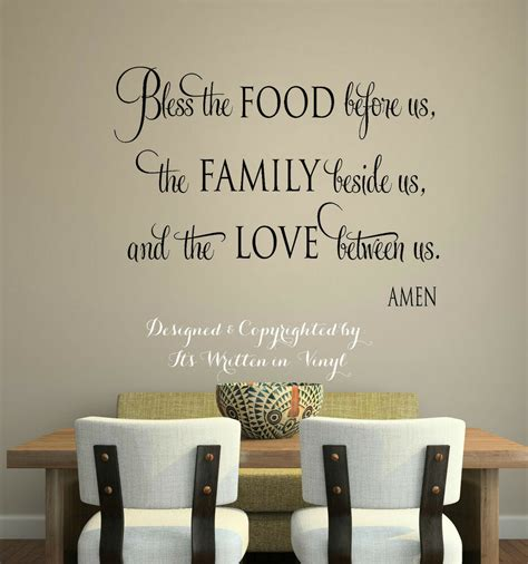 words for the wall home decor bless the food vinyl lettering wall decal words home