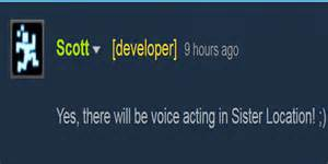 Five nights at freddy s sister location voice acting confirmed by