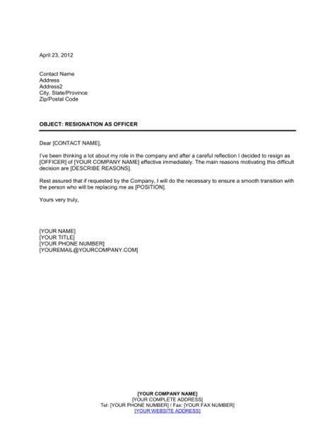 Resignation Letter From Pto Board Resignation Of Officer Template Sle Form Biztree