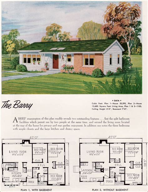 1960s ranch house plans mid century ranch house plans 1952 national plan service barry mid century modern