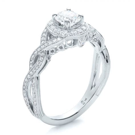 custom halo and filigree engagement ring 100575