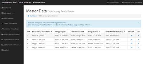 Aplikasi Hrd Web Base aplikasi web based untuk pmb amikom asm mataram versi 2014 it sasak