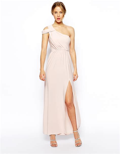 drape dress with one shoulder asos one shoulder drape maxi dress in pink blush lyst