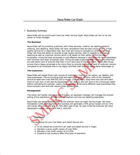 car wash business plan template car wash business plan template 14 free word excel