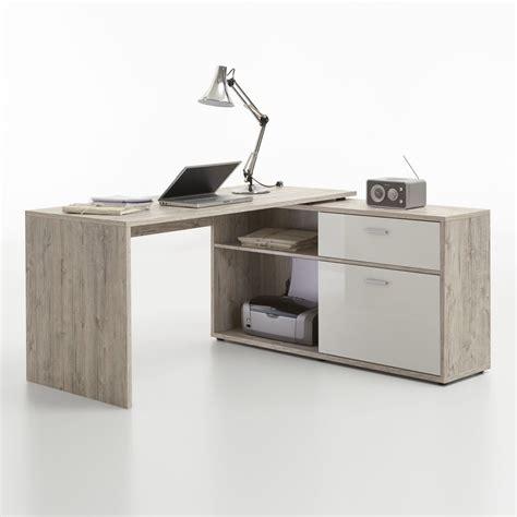scrivania angolare scrivania angolare flox in essenza rovere sabbia e bianco
