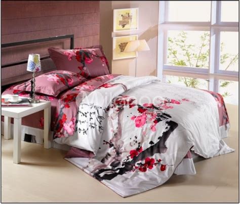 sakura oriental comforters 4 pc classical white and cotton duvet cover bedding set milanoo we it