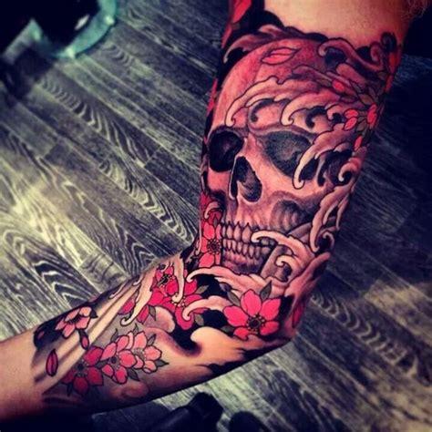 japanese skull tattoo awesome skull sleeve beautiful of ink