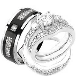 mens and womens matching wedding ring sets 4 pcs his hers sterling silver titanium