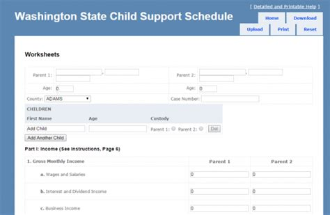 Wsu Mba Schedule by Washington State Child Support Schedule Worksheets