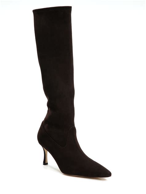 manolo blahnik pascalare suede knee high boots in brown lyst