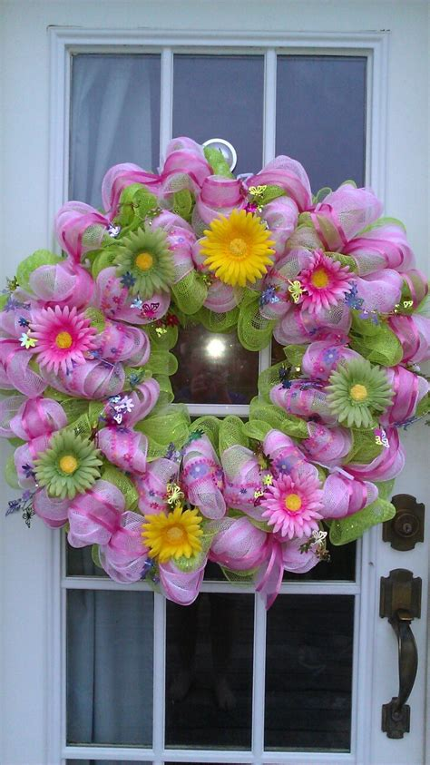 spring wreaths spring mesh wreath wreath making pinterest
