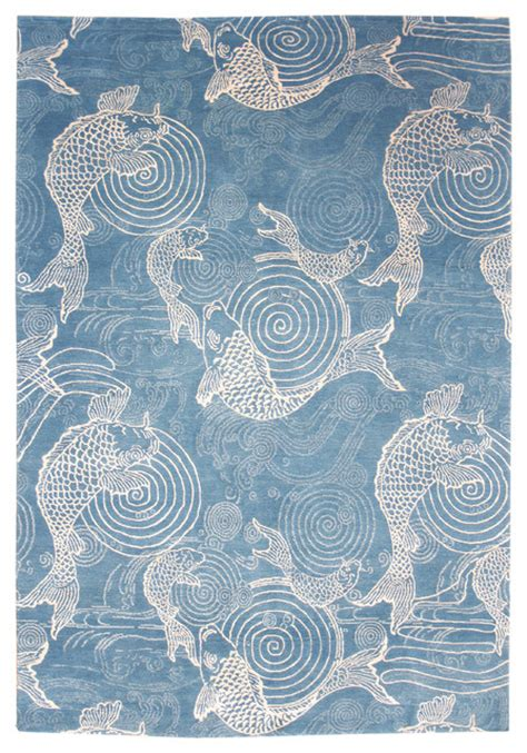 fish area rug swirling fish design rug eclectic area rugs other