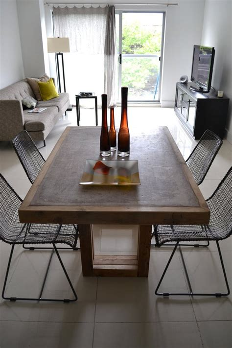 table concrete  reclaimed wood table  shipping