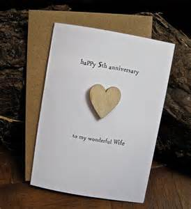5th wedding anniversary card wood traditional symbol handmade keepsake husband fifth five years