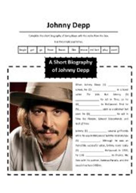 johnny depp mini biography english worksheets a short biography of johnny depp