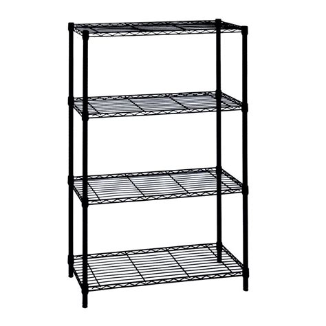 hdx wire shelving hdx 4 shelf 54 in h x 36 in w x 14 in d wire unit in black 21436bps the home depot