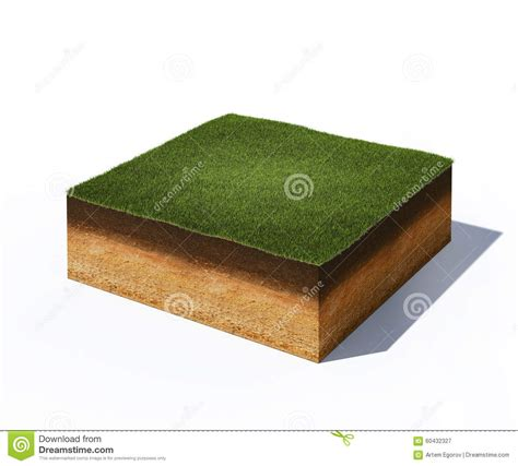 ground section isometric cross section of ground with grass stock