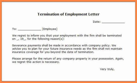 End Of Contract Letter Sle To Employer 11 Employment Termination Notice Sle Notice Letter