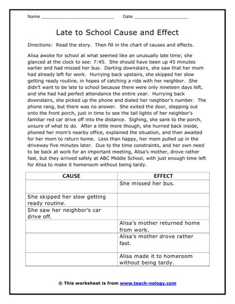 Free Cause And Effect Worksheets by Late To School Cause And Effect