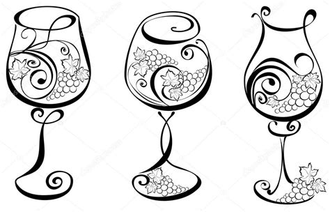 glass design elements 25 vector wine glass with grapevines vector wine design elements