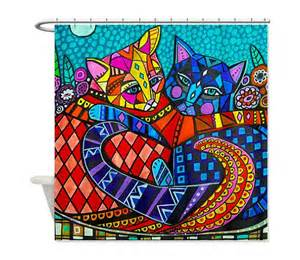 shower curtains for adults cat shower curtain kid or shower by heathergallerart