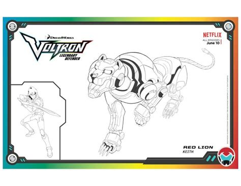 voltron legendary defender red lion coloring page free