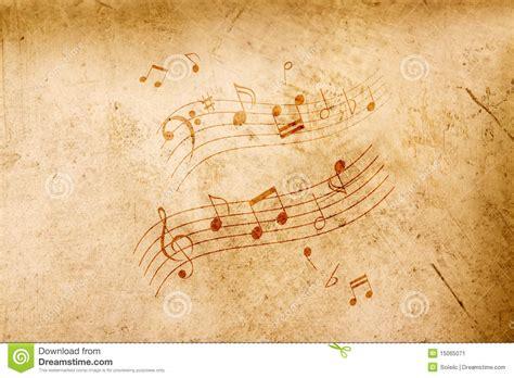 imagenes vintage de notas musicales notas de la m 250 sica sobre fondo antiguo imagen de archivo