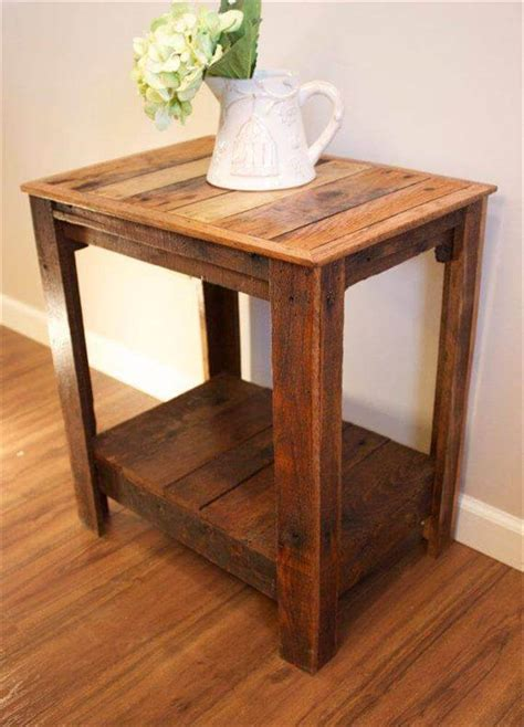 Wood Side Table Pallet Wood Side Tables Pallet Furniture Diy