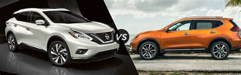 nissan rogue or murano 2017 nissan murano vs 2017 nissan rogue size comparison