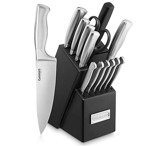 cuisinart kitchen knives buy cuisinart 174 stainless steel hollow handle 15 cutlery knife block set from bed bath beyond